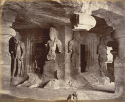 Colossal figures in the Ling Chapel, Caves of Elephanta